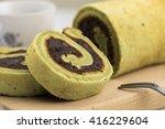 matcha red bean cake roll | Shutterstock . vector #416229604