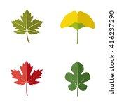 leaves vector icons | Shutterstock .eps vector #416237290