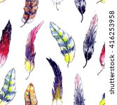 beautiful feathers seamless... | Shutterstock . vector #416253958