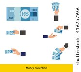 set of brazilian real. holding  ... | Shutterstock .eps vector #416257966