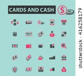 cards and cash icons  | Shutterstock .eps vector #416258179