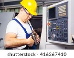 factory man worker measuring... | Shutterstock . vector #416267410