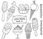 ice cream doodle set. vector... | Shutterstock .eps vector #416269258