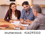 businessman explaining loan... | Shutterstock . vector #416295310