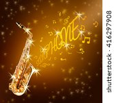 golden saxophone and notes... | Shutterstock . vector #416297908