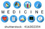 set of flat medicine icons.... | Shutterstock .eps vector #416302354