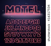 retro neon light font. vector... | Shutterstock .eps vector #416317534