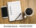 note book with five check marks ... | Shutterstock . vector #416321503