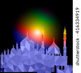 vector polygonal crystal mosque.... | Shutterstock .eps vector #416334919