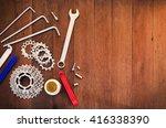 top view of wood desk with... | Shutterstock . vector #416338390