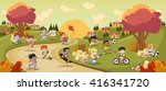 colorful park in the city with... | Shutterstock .eps vector #416341720