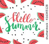 hello summer brush hand painted ... | Shutterstock . vector #416345128