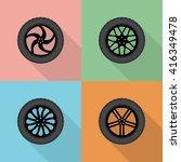 set of flat vector wheels....