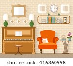 music room illustration. living ... | Shutterstock . vector #416360998