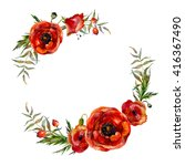 watercolor floral wreath.... | Shutterstock . vector #416367490