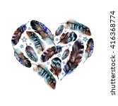 watercolor boho feather heart.... | Shutterstock . vector #416368774