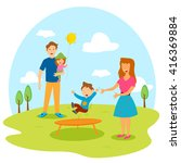 happy family playing in park in ... | Shutterstock .eps vector #416369884