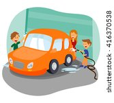 happy family washing car in... | Shutterstock .eps vector #416370538