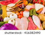 table full of all kinds of food ... | Shutterstock . vector #416382490
