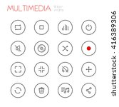 multimedia line icons set | Shutterstock .eps vector #416389306