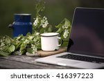working on computer in the... | Shutterstock . vector #416397223