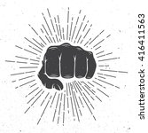 fist with sunbursts in vintage... | Shutterstock . vector #416411563
