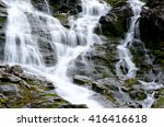 clean fresh water stream running down mountain side in summer landscape