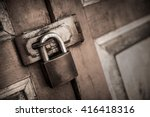 lock on the door of an old... | Shutterstock . vector #416418316