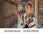 beautiful young woman posing in ... | Shutterstock . vector #416419828