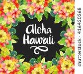 hawaiian wreath with realistic... | Shutterstock . vector #416420368