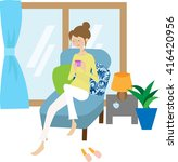 women have at home on the couch ... | Shutterstock . vector #416420956