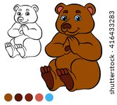 coloring page. little cute bear ... | Shutterstock .eps vector #416433283