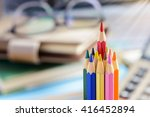 red pencil standing out from a... | Shutterstock . vector #416452894