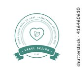 herbal heart label green | Shutterstock .eps vector #416460610
