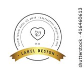 herbal heart label black and... | Shutterstock .eps vector #416460613