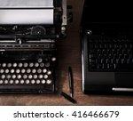 Old Typewriter With Laptop ...