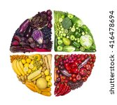 circle of colorful fruits and... | Shutterstock . vector #416478694