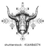 front view of yak head doodle   ... | Shutterstock .eps vector #416486074