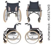 wheelchair front back and side | Shutterstock .eps vector #416517643