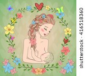 the mother is breastfeeding on... | Shutterstock .eps vector #416518360