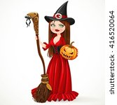 beautiful witch in a red dress... | Shutterstock .eps vector #416520064