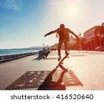 silhouette of skateboarder... | Shutterstock . vector #416520640