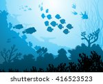 sea underwater world with... | Shutterstock .eps vector #416523523