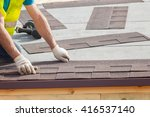 roofer builder worker... | Shutterstock . vector #416537140
