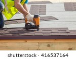 construction worker putting the ... | Shutterstock . vector #416537164