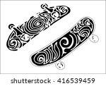 set of skateboard deck  doodle... | Shutterstock .eps vector #416539459