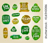 labels with vegetarian and raw...   Shutterstock .eps vector #416543086