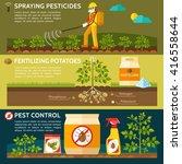 farmer spraying pesticides on...   Shutterstock .eps vector #416558644