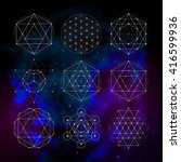sacred geometry symbols and... | Shutterstock .eps vector #416599936
