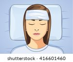 woman put towel onto forehead... | Shutterstock .eps vector #416601460